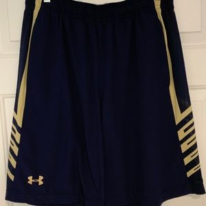 "Under Armour HeatGear Shorts 10"" Navy/Gold Large"